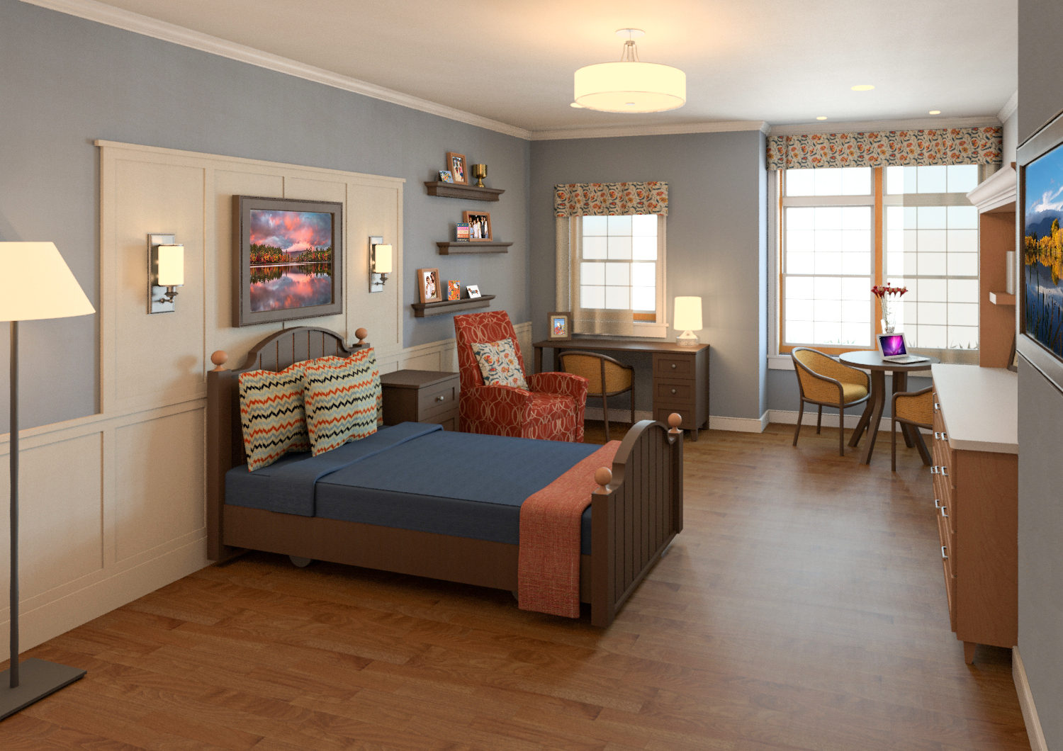 Rendering of resident room at the new Maine Veterans' Homes - Augusta