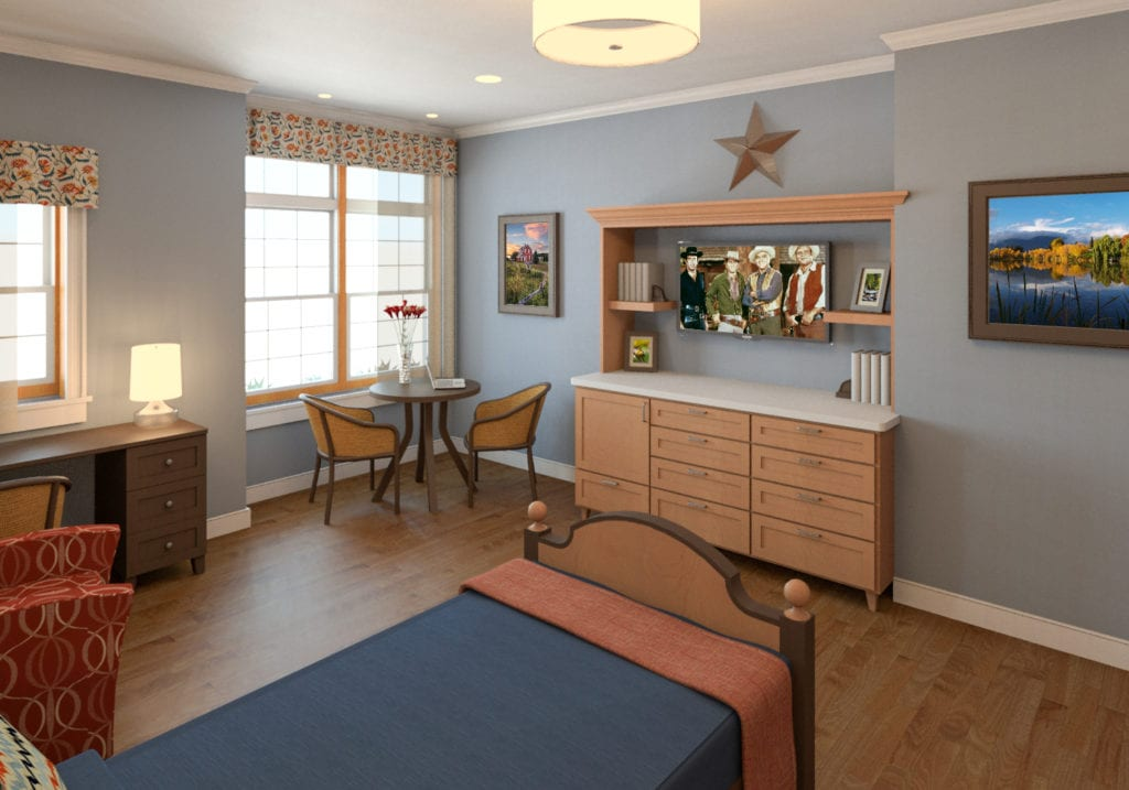 Rendering of resident room at new Maine Veterans' Homes - Augusta